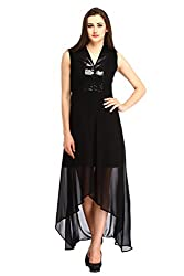 Cottinfab Women Georgette Black Dress (X-Large)