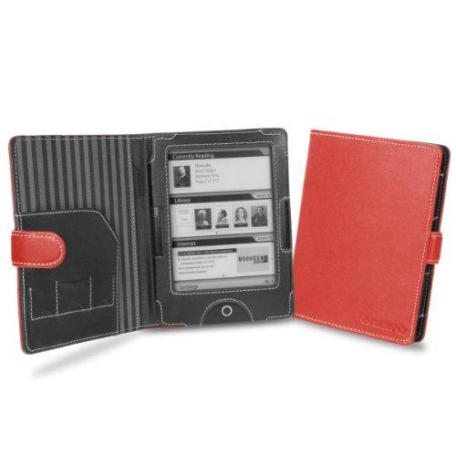 Cover-Up Case Hülle Tasche Etui für BOOKEEN Cybook Odyssey eReader (Buch Stil) in Rot