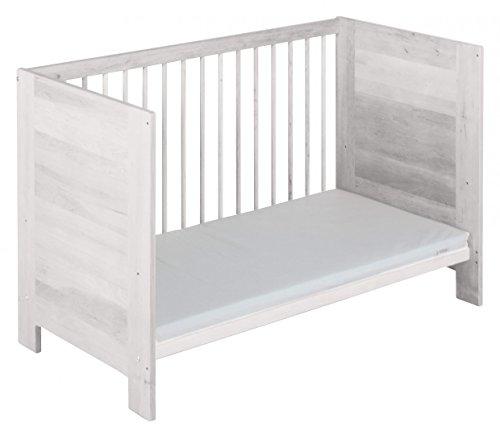 Lit bébé lit bébé Niklas 60x120 pinède avec finition blanche biologique