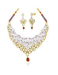 "Peora 18 Karat Gold Plated Kundan ""Aashiaana"" Necklace Earrings Set (PN428GJ)"
