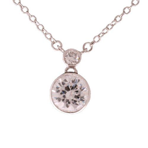 Classic Brass with Rhodium Overlay Bridal Style Round CZ Pendant Necklace!