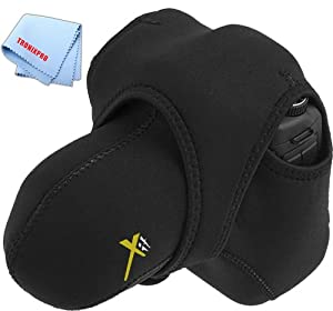 Small Reversible Neoprene Stretchy Wrap Case, Black & Gray for Samsung WB1100F, WB2100 Camera & Fiber Cloth