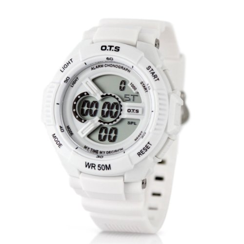 Alienwork OTS Digital Watch Multi-function Wristwatch Backlight Rubber white white
