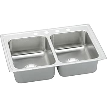 """Elkay LRQ29221 18 Gauge Stainless Steel 29"""" x 22"""" x 7.625"""" Double Bowl Top Mount Quick-Clip Kitchen Sink with 1 Faucet Hole"""