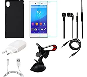 NIROSHA Tempered Glass Screen Guard Cover Case Charger Headphone Mobile Holder for Sony Experia M4 - Combo