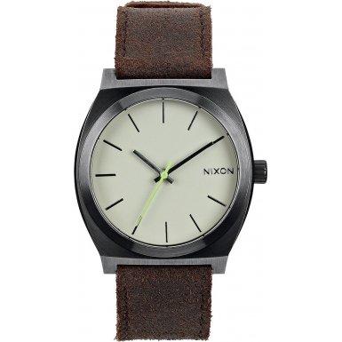 nixon-unisex-armbanduhr-the-time-teller-gunmetal-brown-analog-quarz-leder-a0451388-00