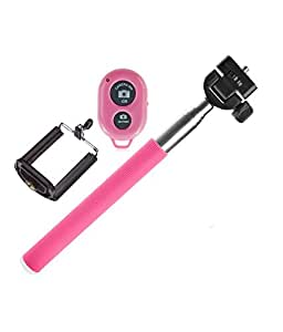 Novo Style Selfie Stick with Adjustable Phone Holder and Bluetooth Wireless Remote Clicker For All Smartphones and Cameras