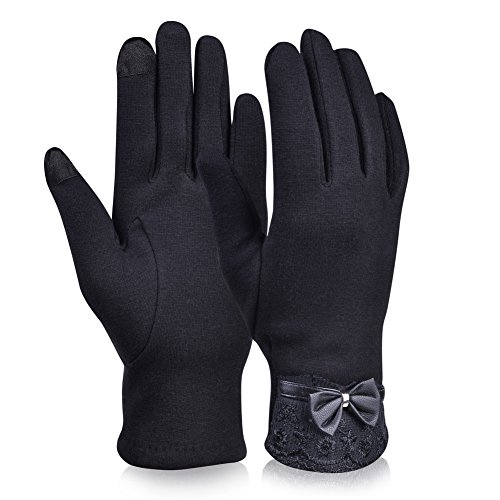 Vbiger Women's Touchscreen Gloves Warmer Flocking Lace Gloves