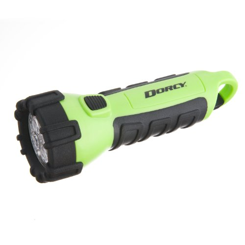 Dorcy 41-2513 Floating Waterproof LED Flashlight with Carabineer Clip, 55-Lumens, Neon Green Finish