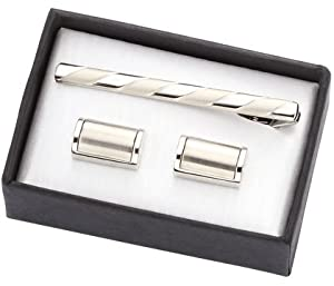 Aeropen International CUT-08 1 in. Silver Metal Cufflinks with Matching Tie Clip