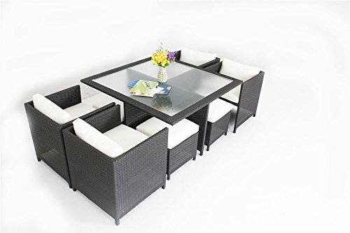Outdoor-Patio-Wicker-Furniture-New-Resin-Square-Dining-Table-Chairs-Set