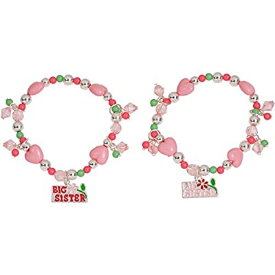 Girls Pink Heart Flower Beaded Big Sister Lil Sister Charm Bracelets Set of 2