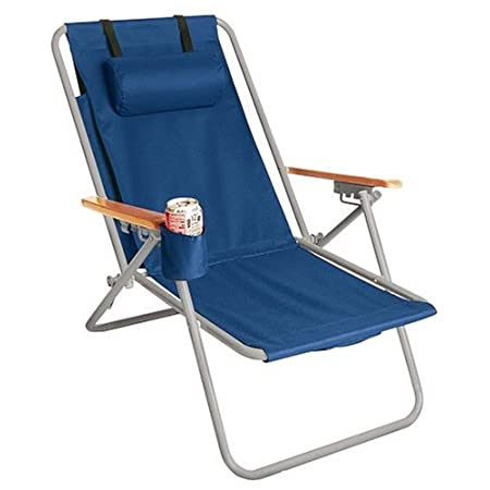Enjoy the WearEver Backpack Beach Chair. This multi-occasion portable chair sits on a sturdy steel frame with a four position recline and features solid wood arms with a cup holder and most conveniently, a 1500 cubic inch storage pocket that could ea...