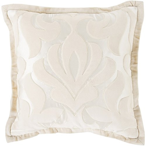 """22"""" Pastel Pink and Ivory White Royal Damask Decorative Throw Pillow - Down Filler"""