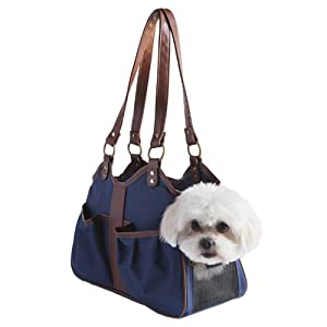 Petote Metro Dog Carrier Bags with 2 Open Pockets, Navy Blue, Petite