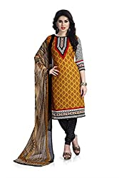 Vaamsi Women's Faux Cotton Salwar Suit Dress Material (Deep1041_Brown_Free Size)