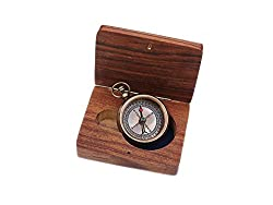 Solid Brass Compass I Wont Need This Anymore Ive Found What I Was Looking For with Wooden Case