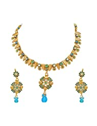 Surat Diamonds Blue Coloured Stone & Gold Plated Necklace & Earring Set For Women (PS124)
