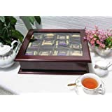 LARGE Fancy Tea Bag Chest Cabinet / Tea Bag Storage Box, Solid Wood, Mahogany Finish (TEA1-MA)