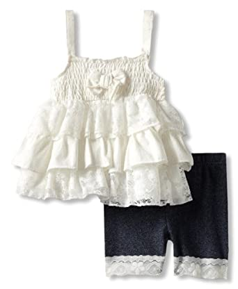 Little Lass Baby-Girls Infant 2 Piece Short Set With Legging Detail, White, 12 Months