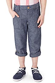 Autograph Adjustable Waist Roll Up Chambray Trousers with Linen