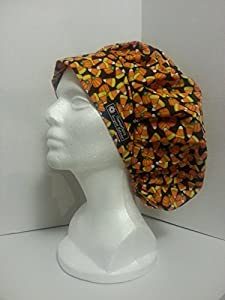 Women's Bouffant Scrub Hat 'candy corn' halloween