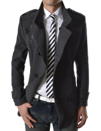 TheLees Mens double breasted high neck wool coat jacket Dark gray Medium(US Small)