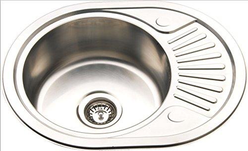 GTDE Kleine Runde Küchenspüle Reversibel Edelstahl Einbauspüle mit Abtropffläche (RB58)