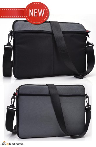 9-inch Tablet Trunk fits Coby 8 Android 4.0 Sleeve Herald Shoulder Bag [GREY & BLACK]. Bonus Ekatomi Boob tube Cleaner