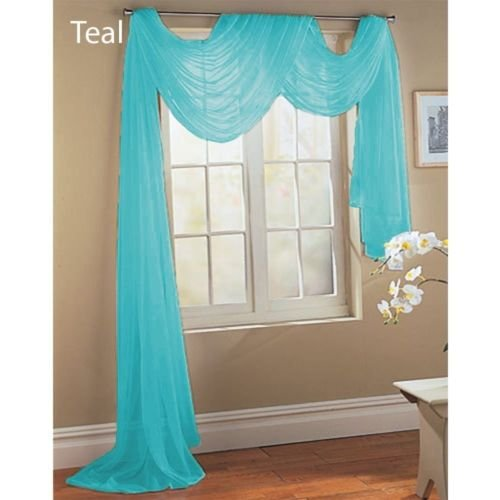 Gorgeous Home 1 PC SOLID TURQUOISE BLUE SCARF VALANCE SOFT SHEER VOILE WINDOW PANEL CURTAIN 216