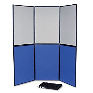 Quartet SB93516Q - ShowIt Six-Panel Display System, Fabric, Blue/Gray, Black PVC Frame-QRTSB93516Q