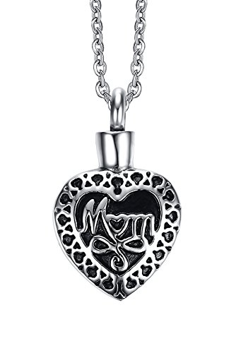 Stainless Steel Memorial Vintage pattern Mom in My Heart Cremation Urn Ash Keepsake Pendant Necklace (Metallic Urn compare prices)