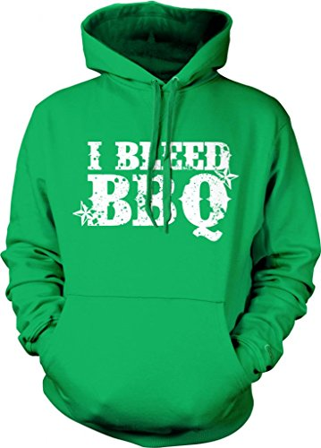 I Bleed BBQ Hooded Sweatshirt, Funny Bar-B-Que In My Blood Design Hoodie (Kelly Green, Large)