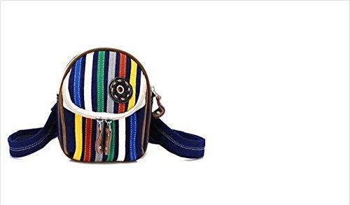 Womens Cheap Casual Canvas Vintage Stripe Scathels,Blue Hiking Waist Bag