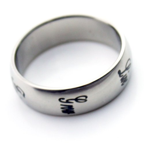 Inspirational Jewelry Unisex Promise Ring Stainless Steel - Grow,Faith, Hope, Love, Peace. Size 6