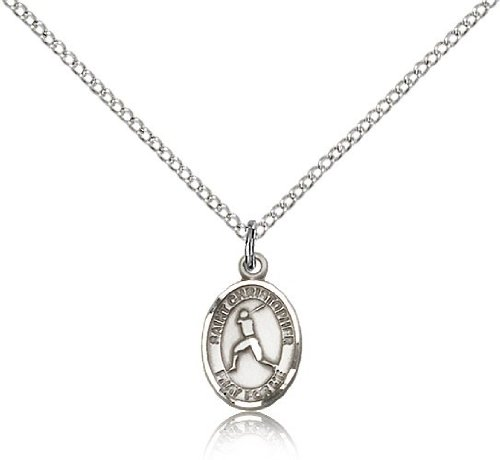 St. Christopher Baseball Medal, Sterling Silver, Small Dime Size
