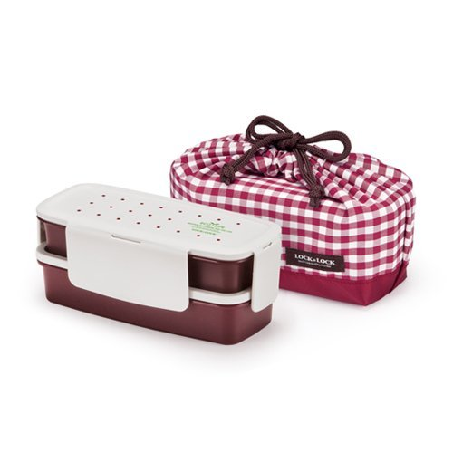 Lock & Lock Bento Lunch Box Set Airtight 2 Tier with 2 Containers + Bag (Wine) Small Version