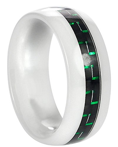 Vance Co. Ceramic Men'S Black And Green Carbon Fiber Inlay Band (8 Mm)- Size 12