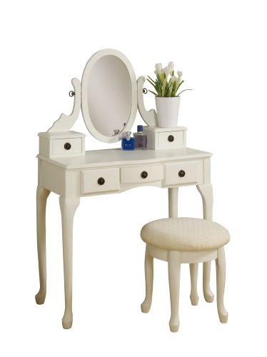 Poundex Cottage Vanity Set with Stool, White Reviews