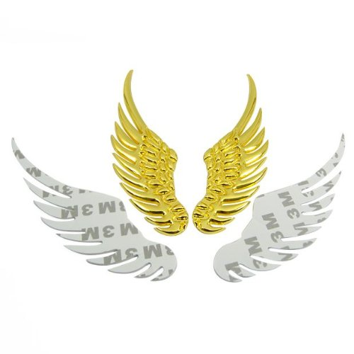 3D Chrome Golden Stainless Alloy Metal Angel Wings Emblem Decal Sticker Brand New For Car Vehicle Camry Cruze Jetta Bora Golf Sx4 Swift Mazda 3 5 6 Cl Clk Ml Mini Lancer Evo A4 A5 A6 Yaris Range Rover Mustang Gti Series Passat Aveo Santa Fe Q5 Q7 X3 X6 M