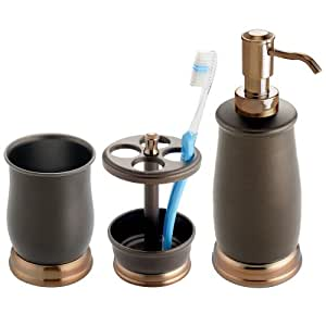 Countertop Accessories : Amazon.com: InterDesign Bath Countertop Accessory Set, Soap Dispenser ...