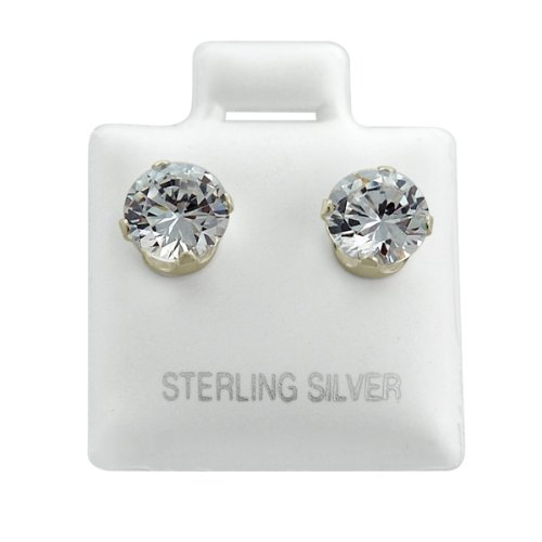 Round CZ Stud Earrings 5mm cubic zirconia 1 ct .925 Sterling Silver Jewelry