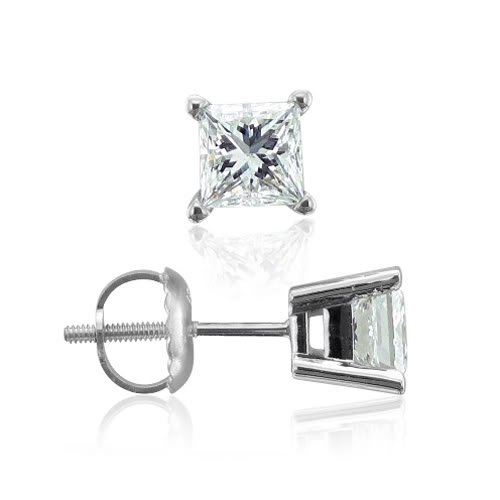 Platinum Princess Cut Natural Diamond Stud Earrings (F-G, VS2, 0.33 cttw)-Certificate of Authenticity