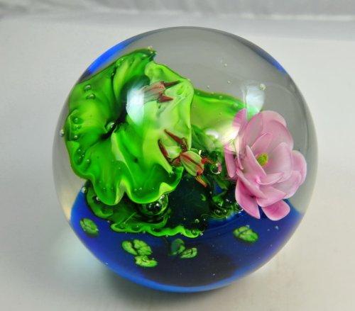 "Murano Glass 200mm ""Frogs Lilypads & A Pink Flower"" Crystal Ball Glass Sculpture"