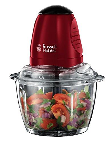Russell Hobbs 20320-56 mini Tritatutto, Vetro, 1L, 380W, Rosso con Inserti Neri