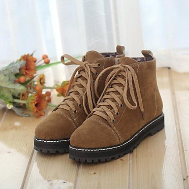 Y&T scarpe da donna punta rotonda stivali tacco basso alla caviglia con lacci più colori disponibili , brown , us9 / eu40 / uk7 / cn41