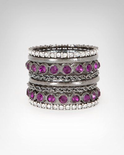 Bebe Multi Chain Crystal Encrusted Bangle Set BLACKBERRY CORDIAL onesize