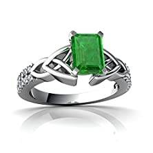 buy 14Kt White Gold Emerald And Diamond 7X5Mm Emerald_Cut Celtic Knot Ring - Size 4.5