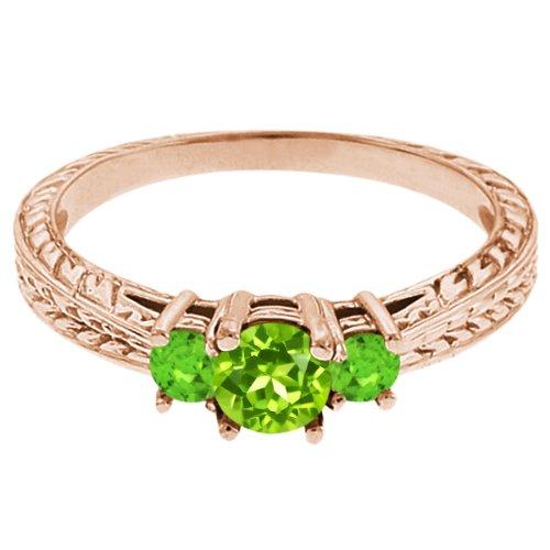0.56 Ct Round Green Peridot Sapphire 14K Rose Gold 3-Stone Ring