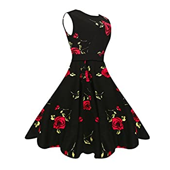 MaggieX Womens Vintage 1950's Floral Sleeveless Party Cocktail Dress